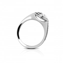 Sholdt 14K White Gold 1Ct Round Full Bezel W/ Channel Set Dias Approx 45X3/4=0.34Tw Engagement Ring