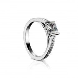 Sholdt 14K White Gold 1Ct Pc 1/2 Bezel W/ 22=0.22 Channel Set Dias In Shank Engagement Ring