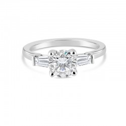 Sholdt 14K White Gold 1Ct Round Delicate 3-Stone W/ 2=Approx 0.25Tw Baggs (4X2.75X2) Engagement Ring