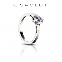 Sholdt Twisp White Gold Four Prong Solitaire Engagement Ring Mounting.