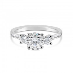 Sholdt 14K White Gold 1Ct Round 3-Stone W/ 2X0.15=0.30 Sides + 18X1/2=0.09Tw Channel Set Sides Engagement Ring