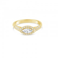 Sholdt 14K White Gold 0.50Ct Marquise Set Horizontal Surround By 18X1/2=0.09Tw Pave Dias. Engagement Ring