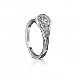 """Sholdt 14K White Gold 0.50Ct Round """"Tear Drop"""" W/ 1X5, 1X1.5, 1X1/2=0.07Tw Engagement Ring"""