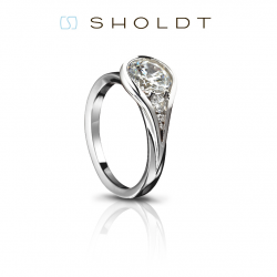 Sholdt Twisp White Gold Tear Drop Bezel Solitaire Engagement Ring Mounting.