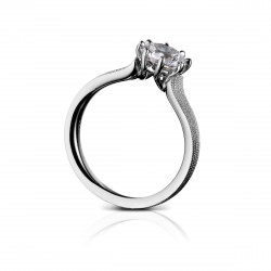 Sholdt 14K White Gold 1Ct Round, 8-Prong Head W/ Fern Finish Engagement Ring