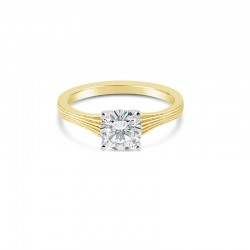 Sholdt 14K White Gold 1Ct Round, Fern Finish 4-Prong Solitaire Engagement Ring
