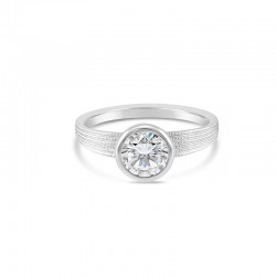 Sholdt 14K White Gold 1Ct Round Set In Full Bezel Cone, Fern Finish Shank Engagement Ring