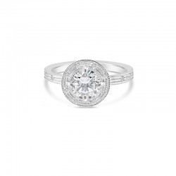 "Sholdt 14K White Gold  1Ct Round, Full Bezel ""Knot"" Ring W/ Dias: 12X2.5, 1X4, 2X1.5, 2X1, 1X3/4 Engagement Ring"