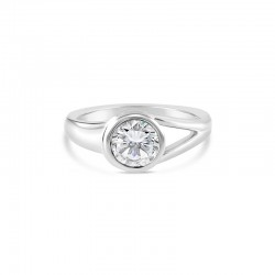 "Sholdt 14K White Gold  1Ct Round, Full Bezel ""Knot"" Ring Engagement Ring"