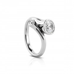"Sholdt 14K White Gold 1Ct Round  ""Trumpet Ring"" W/ 1=0.10Ct Bezel Set Dia Engagement Ring"