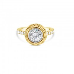 """Sholdt 14K White Gold 1Ct Round """"Beehive"""", Fern Finish Head W/ 16=0.40Tw French Pave Engagement Ring"""