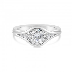Sholdt 14K White Gold 1Ct Round North/South 1/2 Bezel W/ Tapered Roud Sides 2X5, 2X1.5, 2X1/2 Engagement Ring