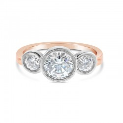 Sholdt 14K White Gold 3-Stone Rainier Ring With 3 Bezels 2=0.50Tw Sides Engagement Ring