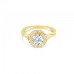 Sholdt 14K White Gold Full Pave Halo With 20=0.15Tw Engagement Ring