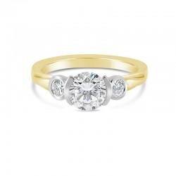 Sholdt 14K White Gold 3-Stone Rainier Ring Bezel Set 2=0.20Tw And Half Bezel Center Engagement Ring