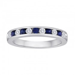 14kw 11 Stone Sapphire/Dia Channel Band .15ct tw dia