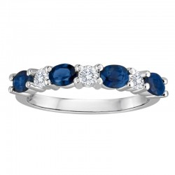14Kw 1.15Tw Oval Sapphire & Diamond Band 4S 3Rb