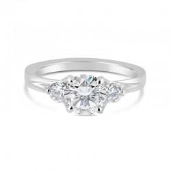 Sholdt 14K White Gold 3-Stone Rainier Ring With 2=0.30Tw Engagement Ring