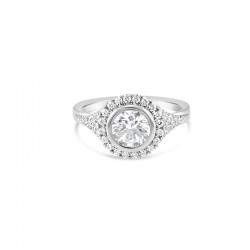 Sholdt 14K White Gold French Set Halo With Tapered French Set Sides. Halo=20X3/4 And Shank 30X1/2 Engagement Ring