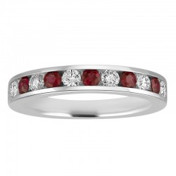 14kw 11 stone Ruby/Dia Channel Band .50ct tw dia