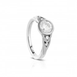 "Sholdt 14K White Gold Full Bezel ""Celtic Style Design""With 4=0.10Tw Engagement Ring"