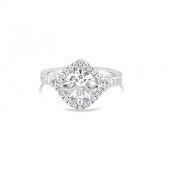 Sholdt 14K White Gold Kite Set French Pave Halo With Plain Split Shank With 20X1=0.20Tw Engagement Ring