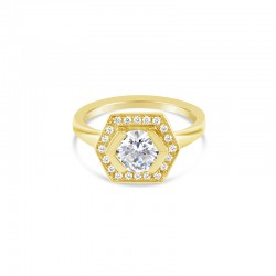 Sholdt 14K White Gold Geometric Halo, Center Set With 1/2 Bezel With 20X3/4=0.15Tw Pave Diamonds Engagement Ring