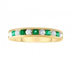 14kw 11 Stone Emerald /Dia Channel Band .15ct tw dia
