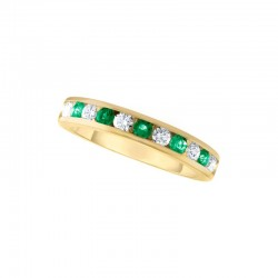 14ky 11 Stone Emerald/Dia Channel Band .50ct tw dia