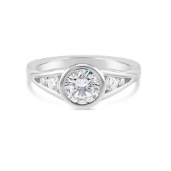 Sholdt 14K White Gold Full Bezel With Channel Set Tapered Dias 2X0.15=0.30 And 2X1.8Mm=0.05Tw Engagement Ring