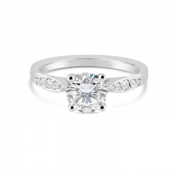 """Sholdt 14K White Gold 4-Prong With Pave """"Leaf"""" Shape Shoulders 4X0.005, 4X0.01, 2X0.02 Engagement Ring"""