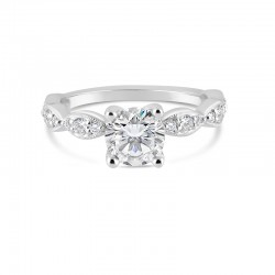 Sholdt 14K White Gold Leaf Pattern R472 With 6X0.02 And 12X0.0075=0.21Tw Engagement Ring