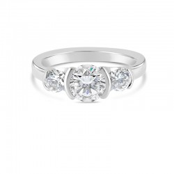 Sholdt 14K White Gold 3 Stone With Half Bezels With 2=0.50Tw Dias Engagement Ring