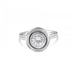 Sholdt 14K White Gold Organic Vine Plain Bezel  Engagement Ring