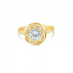 Sholdt 14K White Gold Organic Bezel With Flush Set Diamonds In Halo And Shank 12X1=0.12Tw  Engagement Ring