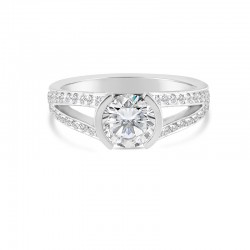 Sholdt 14K White Gold Split Shank With 40X3/4 Pave Diamont And Half Bezel Center For Round Engagement Ring