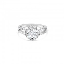 Sholdt 14K White Gold French Set Halo With Split Shank Halo 16X0.015 _ 28X0.015 Shank = 0.66Ctw Engagement Ring