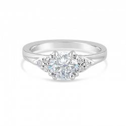 Sholdt 14K White Gold Prong Set W/ 6X0.02  Cluster Of 3 On Either Side Of Center Engagement Ring
