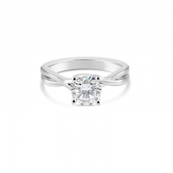 Sholdt 14K White Gold R206 Twisted Solitaire For 1Ct Round Engagement Ring