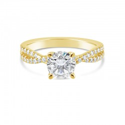 Sholdt 14K White Gold R206 Twisted Solitaire For 1Ct Round With 44X1/2=0.22Ctw French Set Dias Engagement Ring