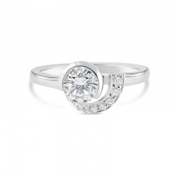 Sholdt 14K White Gold 1/2 Bezel 1/2 Pave Wave With 7=0.07Tw (2X1.5, 3X1, 2X1/2) Engagement Ring