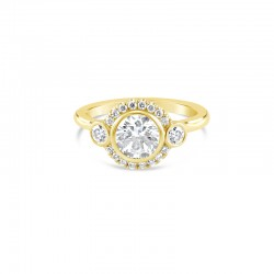 Sholdt 14K White Gold Round French Set Halo With Bezel Set Center With 16X3/4 And 2X7Ptrs Bezel Set Accent Dia