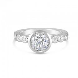 Sholdt 14K White Gold Full Bezel With 10X2 Bezel Set Diamonds Engagement Ring