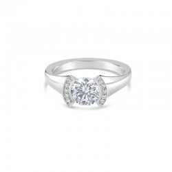 Sholdt 14K White Gold Half Bezel With 10X1/2 Pave Diamonds On Top Of The Half Bezel  Engagement Ring