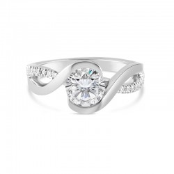 Sholdt 14K White Gold R527 With French Set Diamonds On One Side W/ 21=0.11Ctw Dias Engagement Ring