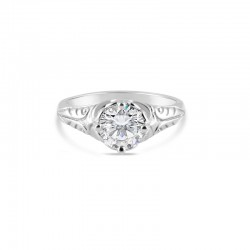 Sholdt 14K White Gold 1Ct Round Vintage Style Filigree  Engagement Ring