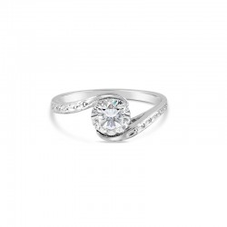 Sholdt 14K White Gold 1Ct Round Bypass + Engraved  Engagement Ring
