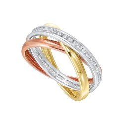 Diamond Triple Entwined Band in 14k Tri-Color Gold (1/2ctw)