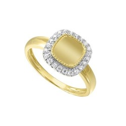 Diamond Medallion Cushion Signet Ring in 14k Yellow Gold (1/5ctw)