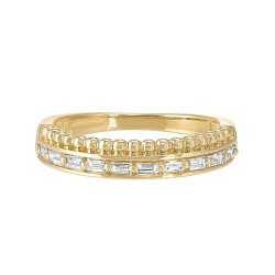 Diamond Double Decker Anniversary Wedding Band in 14k Yellow Gold (⅕ ctw)